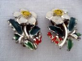 Signed Exquisite Christmas Rose Earclips - 1960's (SOLD)